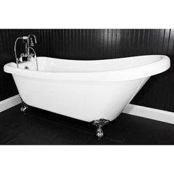 Spa Collection 57 Inch Single Slipper Clawfoot Tub And Faucet Pack