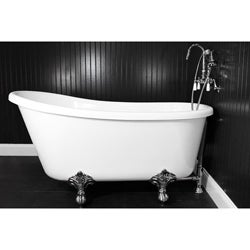 Spa Collection 58 Inch Swedish Slipper Clawfoot Tub And Faucet Pack