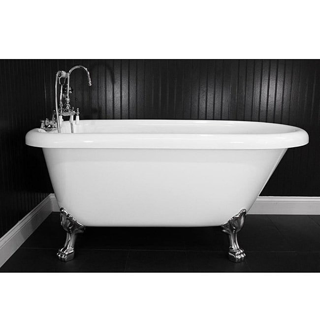 Spa Collection 56 inch Classic Style Clawfoot Tub and Faucet Pack