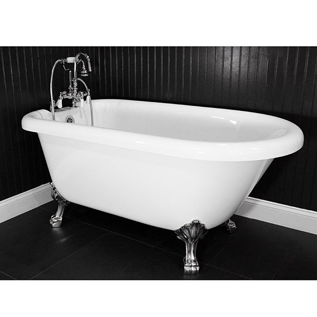 Shop Spa Collection 53-inch Classic Style Clawfoot Tub and Faucet ...