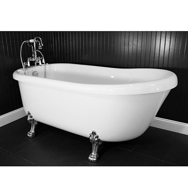 Spa Collection 67-inch Air Massage Slipper Clawfoot Tub Package