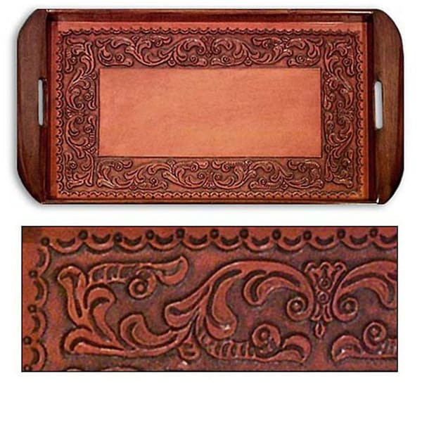 Handmade Tooled Leather Spanish Ivy Serving Tray (Peru). Opens flyout.