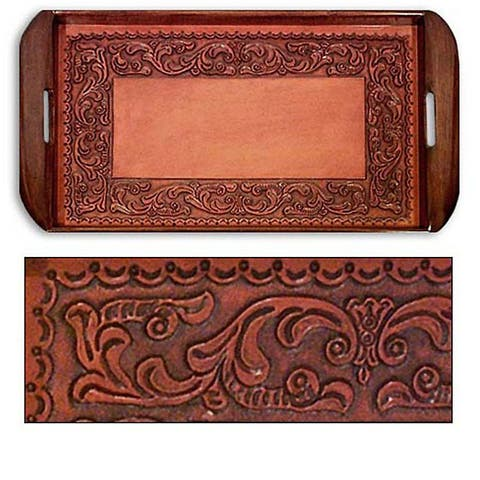 Handmade Tooled Leather Spanish Ivy Serving Tray (Peru)