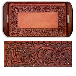 Handmade Tooled Leather 'Spanish Ivy' Serving Tray (Peru)