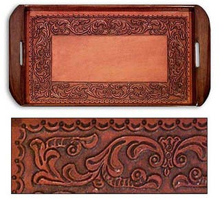 Handmade Tooled Leather 'Spanish Ivy' Serving Tray (Peru)|https://ak1.ostkcdn.com/images/products/6144162/P13804730.jpg?impolicy=medium