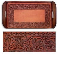 Handmade Tooled Leather 'Spanish Ivy' Serving Tray (Peru)