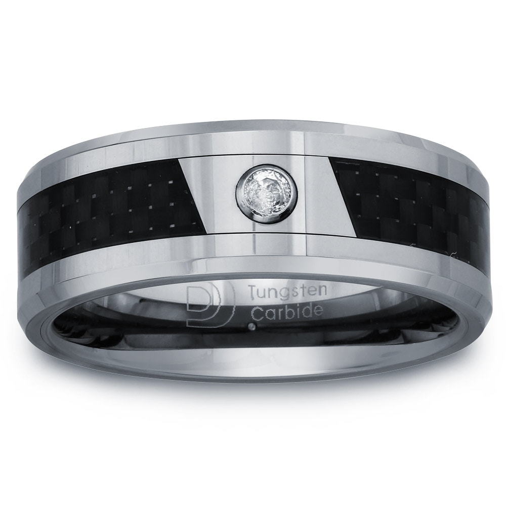 Tungsten Men's Diamond Accent Carbon Fiber Inlay Band By Ever One