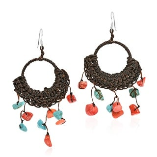 Handmade Cotton Rope Turquoise and Coral Chandelier Dangle Earrings
