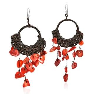 Synthetic Coral Chandelier Hoop Dangle 925 Silver Earrings (Thailand)