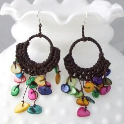 Handmade Cotton Colorful Mother of Pearl Chandelier Dangle Earrings (Thailand)