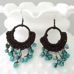 Handmade Cotton Reconstructed Turquoise Chandelier Dangle Earrings (Thailand)