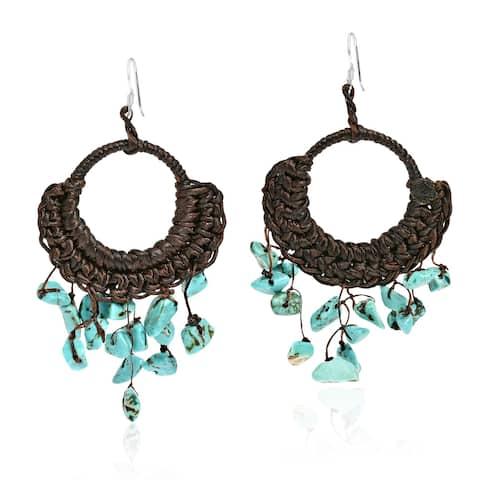 Handmade Cotton Reconstructed Turquoise Chandelier Dangle Earrings