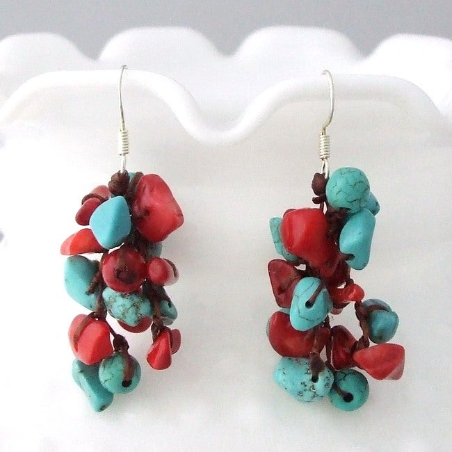 Handmade Cotton Cluster Turquoise and Coral Drop Dangle Earrings (Thailand)
