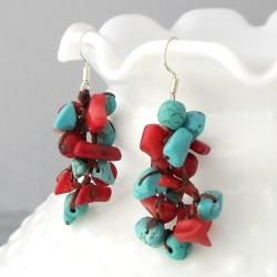 Handmade Cotton Cluster Turquoise and Coral Drop Dangle Earrings (Thailand) - Thumbnail 1
