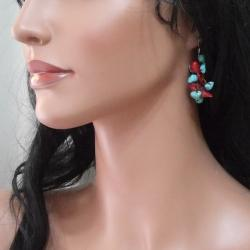 Handmade Cotton Cluster Turquoise and Coral Drop Dangle Earrings (Thailand) - Thumbnail 2