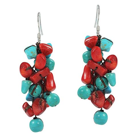 Handmade Cluster Dangle Earrings (Thailand)