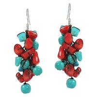 Cluster Turquoise Synthetic Coral Drop .925 Silver Earrings (Thailand)