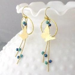 Brass Finesse Butterfly Turquoise/ Crystal Dangle Earrings (Thailand) - Thumbnail 1