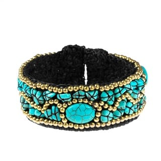 Handmade Brass and Cotton Rope Modern Oval Turquoise Cuff Bracelet (Thailand)