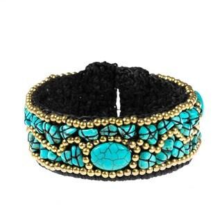 Handmade Brass Modern Turquoise Cuff Bracelet (Thailand)