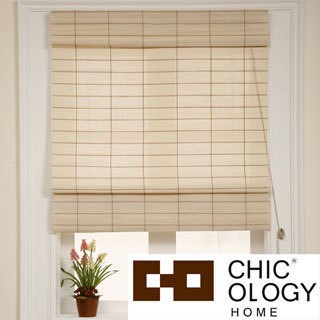 Chicology Roman Shade Cotton and Jute Fabric Privacy Kyoto Cappuccino Cream (24-inch x 72-inch )
