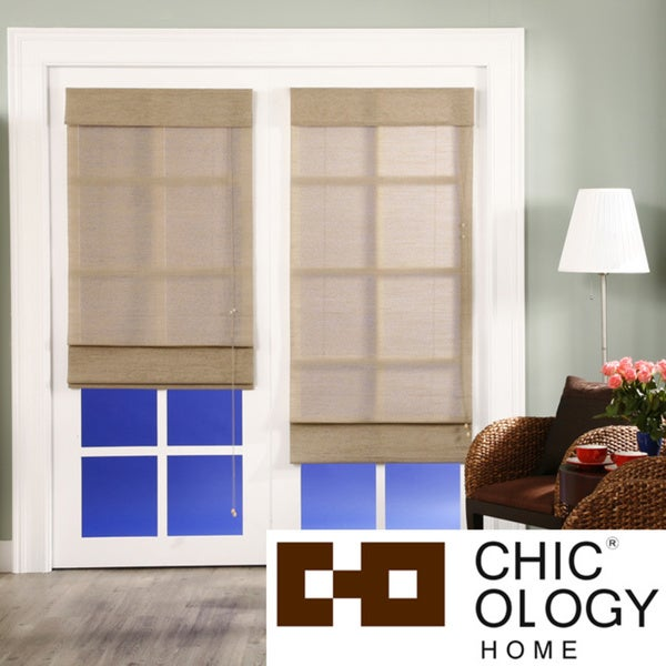 Chicology Roman Shade Jute Fabric Privacy Nevada Timberwolf Grey (36-inch x 72-inch )