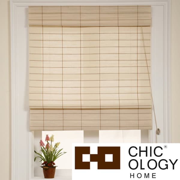 Chicology Roman Shade Cotton and Jute Fabric Privacy Kyoto Cappuccino Cream (48-inch x 72-inch )