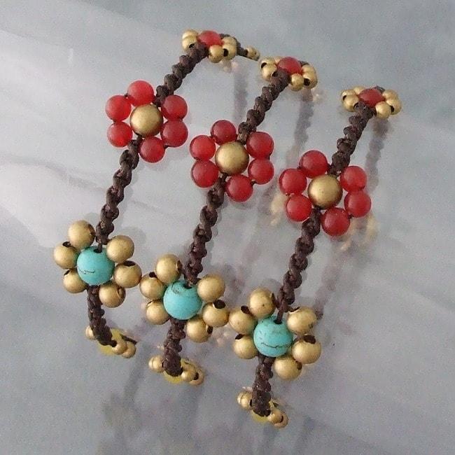 Handmade Set of 3 Brass Daisy Turquoise/ Carnelian Jingle Bracelets (Thailand)