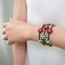 Handmade Set of 3 Brass Daisy Turquoise/ Carnelian Jingle Bracelets (Thailand) - Thumbnail 1