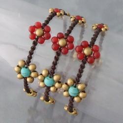 Handmade Set of 3 Brass Daisy Turquoise/ Carnelian Jingle Bracelets (Thailand) - Thumbnail 2