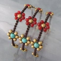 Handmade Set of 3 Brass Daisy Turquoise/ Carnelian Jingle Bracelets (Thailand)