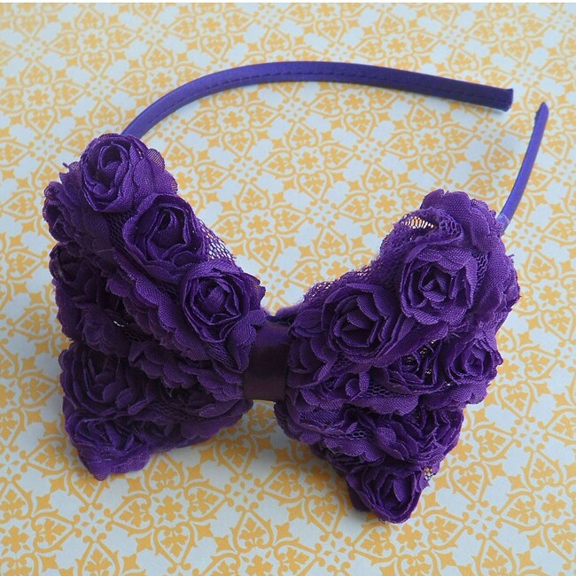Vintage Rose Bow Headband