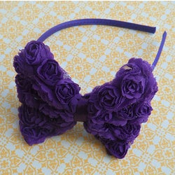 Vintage Rose Bow Headband