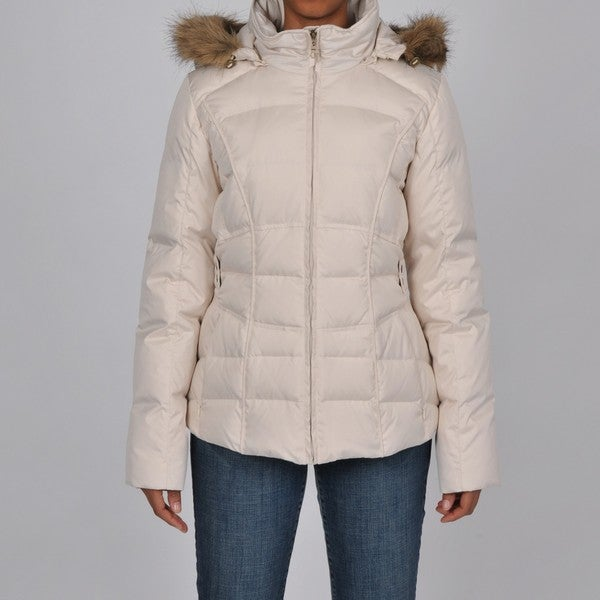 3e3aaa7d0ba Shop Larry Levine Women s Ivory Faux Fur-Trim Hooded Down Jacket ...