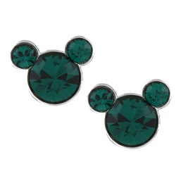 Disney's Mickey Mouse Sterling Silver Dark Green Crystal Earrings