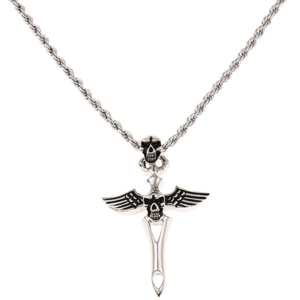 Stainless Steel Men's Skull and Winged Cross Design Necklace