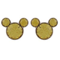 Disney's Mickey Mouse Sterling Silver Yellow Crystal Earrings