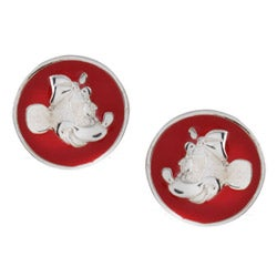 Disney's Minnie Mouse Sterling Silver Red Enamel Stud Earrings