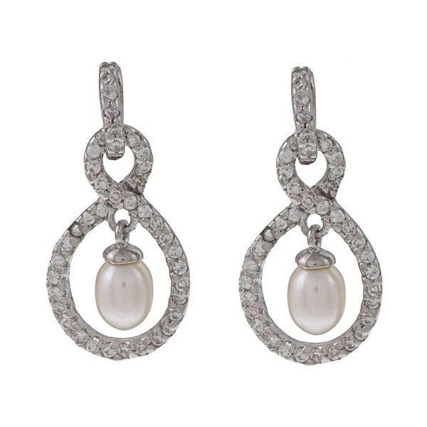Kabella Sterling Silver Freshwater Pearl with Cubic Zirconia Earrings (4-5mm)