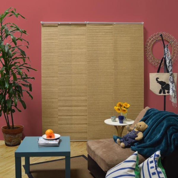 Chicology Adjustable Sliding Panel Cordless Shade Double Rail Track Privacy Fabric 80-inch x 96-inch Kansas Ginger