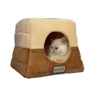 Armarkat Brown-and-beige 100-percent Polyester Velvet Cat Bed