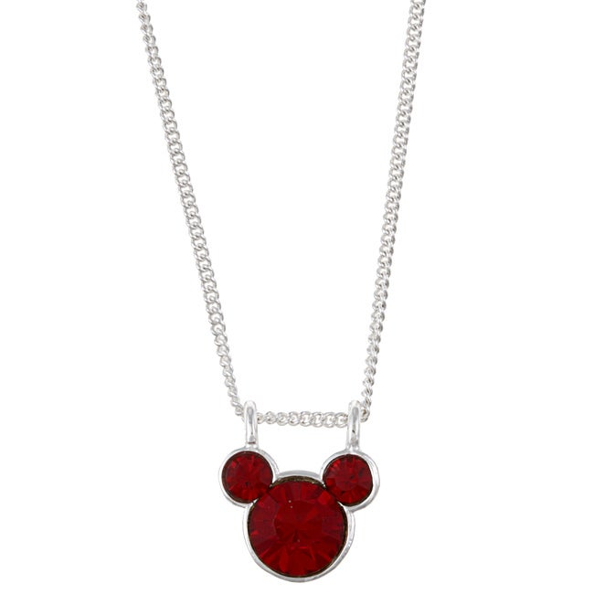 Disney's Mickey Mouse Sterling Silver Dark Red Crystal Necklace