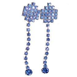 Detti Originals Silvertone Blue Crystal Post Dangle Earrings