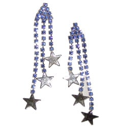 Detti Originals Silvertone Tri-star Blue Crystal Post Dangle Earrings