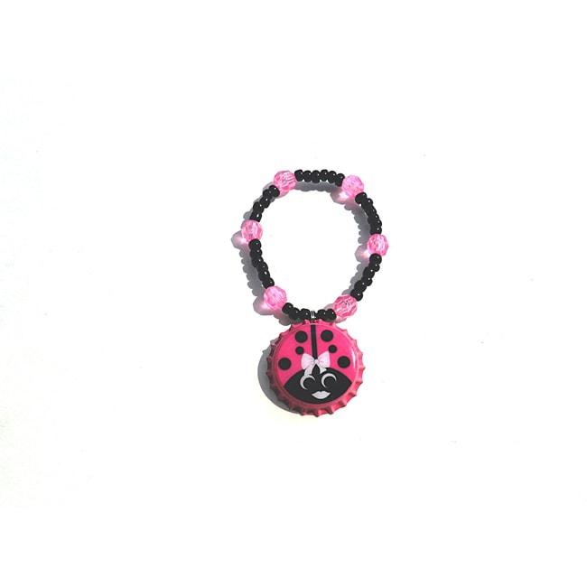 Hot Pink Ladybug Bottle Cap Charm Bracelet