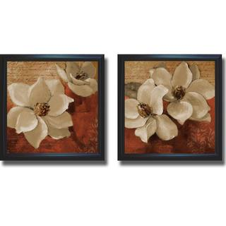 Lanie Loreth 'Midday Magnolias I and II' Framed 2-piece Canvas Art Set