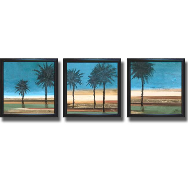 Patricia Pinto 'Coastal Palms I, II, and III' Framed 3-piece Canvas Art Set