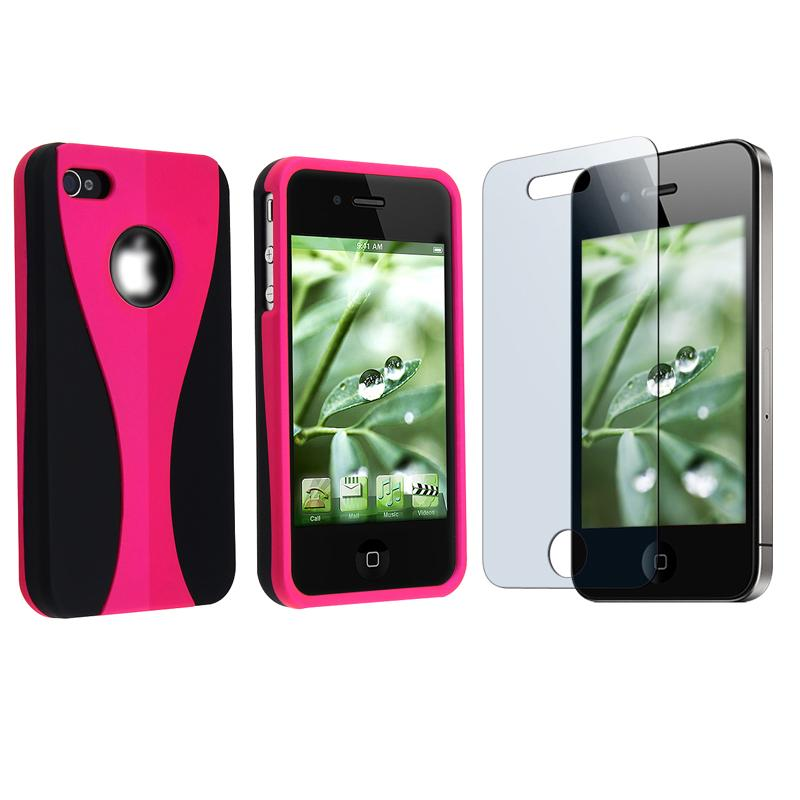 Hot Pink Case/ Screen Protector for Apple iPhone 4