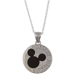 Disney's Mickey Mouse Sterling Silver Black Enamel Medallion Necklace