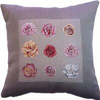 Corona Decor French Jacquard Woven Floral Bud Decorative Pillow